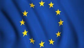 Drapeau l'Europe ondulant dans la soie de vent illustration libre de droits