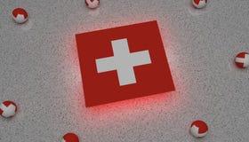 Drapeau l'Europe rouge blanche de la Suisse illustration stock