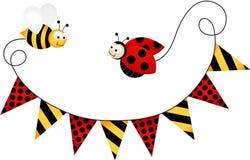 Drapeau Ladybird de partie et abeille Images libres de droits