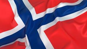 Drapeau majestueux de la Norvège Photographie stock libre de droits