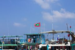 Drapeau maldivien au-dessus du port sur la poissonnerie masculine image stock