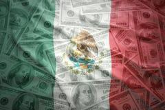 drapeau mexicain de ondulation coloré sur un fond d'argent du dollar image libre de droits