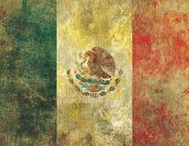 Drapeau mexicain endommagé et fané de vieux style grunge illustration stock