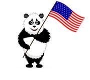 Drapeau mignon de Panda Holding Etats-Unis de vecteur Photos stock