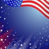 Drapeau national américain brillant ondulant pour le quatrième de juillet illustration de vecteur
