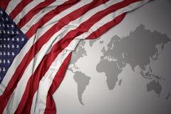 Drapeau national coloré de ondulation des Etats-Unis d'Amérique Photographie stock