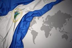 Drapeau national coloré de ondulation du Nicaragua Images stock