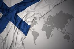 Drapeau national coloré de ondulation de la Finlande Image stock