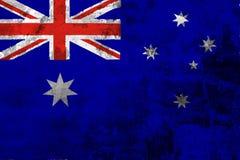 Drapeau national d'Australie sur le fond du vieux mur illustration de vecteur