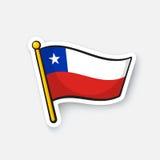 Drapeau national d'autocollant du Chili illustration de vecteur