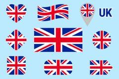 Drapeau national de collection de la Grande-Bretagne Dirigez les drapeaux du Royaume-Uni réglés Icônes d'isolement par appartemen illustration de vecteur