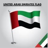 Drapeau national de drapeau des EMIRATS ARABES UNIS des EMIRATS ARABES UNIS sur un poteau illustration libre de droits