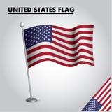 Drapeau national de drapeau des ETATS-UNIS des ETATS-UNIS sur un poteau illustration stock