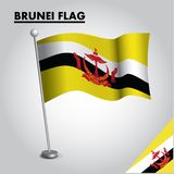 Drapeau national de drapeau du BRUNEI du BRUNEI sur un poteau illustration de vecteur
