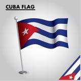 Drapeau national de drapeau du CUBA du CUBA sur un poteau illustration de vecteur