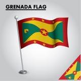 Drapeau national de drapeau du GRENADA du GRENADA sur un poteau illustration libre de droits