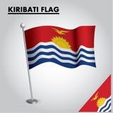Drapeau national de drapeau du KIRIBATI du KIRIBATI sur un poteau illustration de vecteur