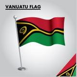Drapeau national de drapeau du VANUATU du VANUATU sur un poteau illustration de vecteur