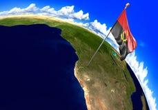 Drapeau national de l'Angola marquant l'emplacement de pays sur la carte du monde illustration stock