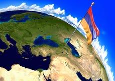 Drapeau national de l'Arménie marquant l'emplacement de pays sur la carte du monde illustration de vecteur