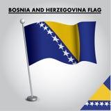Drapeau national de drapeau de la BOSNIE-HERZÉGOVINE de la BOSNIE-HERZÉGOVINE sur un poteau illustration de vecteur