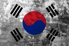 Drapeau national de la Corée du Sud sur le fond du vieux mur illustration de vecteur