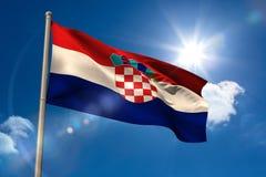 Drapeau national de la Croatie sur le mât de drapeau illustration libre de droits