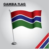 Drapeau national de drapeau de la GAMBIE de la GAMBIE sur un poteau illustration libre de droits