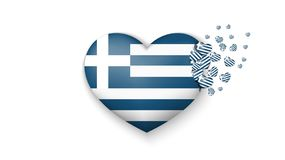 Drapeau national de la Grèce dans l'illustration de coeur Avec amour au pays de la Grèce Le drapeau national de la Grèce piloter  illustration libre de droits