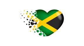 Drapeau national de la Jamaïque dans l'illustration de coeur Avec amour au pays de la Jamaïque Le drapeau national de la Jamaïque illustration stock