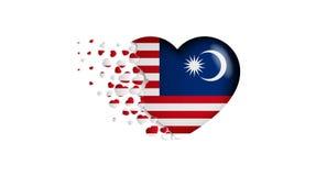 Drapeau national de la Malaisie dans l'illustration de coeur Avec amour au pays de la Malaisie Le drapeau national de la Malaisie illustration stock