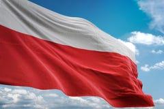 Drapeau national de la Pologne ondulant l'illustration 3d réaliste de fond de ciel bleu illustration stock