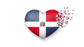 Drapeau national de la République Dominicaine dans l'illustration de coeur Avec amour au pays de la République Dominicaine  Le dr illustration libre de droits