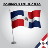 Drapeau national de drapeau de la RÉPUBLIQUE DOMINICAINE de la RÉPUBLIQUE DOMINICAINE sur un poteau illustration stock