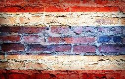 Drapeau national de la Thaïlande sur la brique Photographie stock libre de droits
