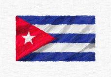Drapeau national de ondulation peint à la main du Cuba, peinture à l'huile d'isolement sur le wh illustration de vecteur