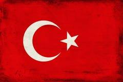 Drapeau national de vintage de fond de la Turquie Images libres de droits