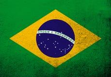 """Drapeau national du Brésil république fédérative du Brésil """"Auriverde """" Fond grunge illustration libre de droits"""