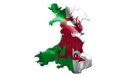 Drapeau national du Pays de Galles avec le nom du pays là-dessus illustration 3D illustration stock