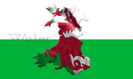 Drapeau national du Pays de Galles avec le nom du pays là-dessus illustration 3D illustration de vecteur