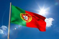 Drapeau national du Portugal sur le mât de drapeau illustration libre de droits