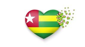 Drapeau national du Togo dans l'illustration de coeur Avec amour au pays du Togo Le drapeau national du Togo piloter de petits co illustration stock