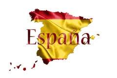 Drapeau national et carte espagnols avec le nom du pays écrit là-dessus 3D Photographie stock