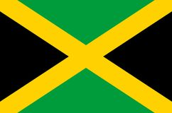 Drapeau national jamaïcain, drapeau officiel de couleurs précises de la Jamaïque illustration de vecteur