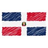 Drapeau national tiré par la main de la République Dominicaine d'isolement sur un fond blanc Illustration de style de croquis de  illustration de vecteur