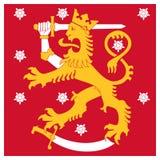 Drapeau naval de la Finlande Jack, lion héraldique avec l'épée marchant sur le sab illustration stock