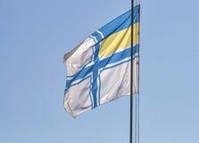 Drapeau naval de plan rapproché de l'Ukraine Photos stock