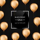 Drapeau noir de vente de vendredi Ballons de feuille d'or Cadre blanc Illustration de vecteur Images stock