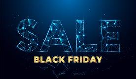 Drapeau noir de vente de vendredi Bannière géométrique de vente illustration stock