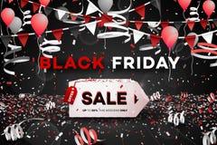 Drapeau noir de vente de vendredi Boîte 3d de papier Affiche conceptuelle de remise Illustration de vecteur photo libre de droits